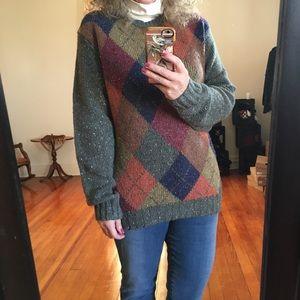 Oversized Slouchy Argyle Wool Sweater Grandpa